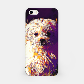 Thumbnail image of gxp maltese dog vector art late sunset iPhone Case, Live Heroes