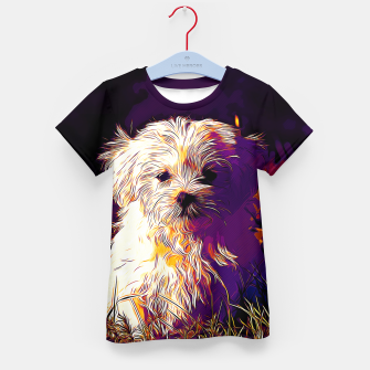 Thumbnail image of gxp maltese dog vector art late sunset Kid's t-shirt, Live Heroes