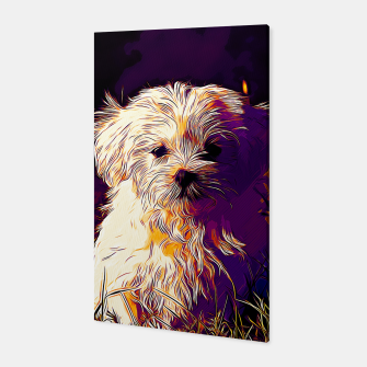 Thumbnail image of gxp maltese dog vector art late sunset Canvas, Live Heroes