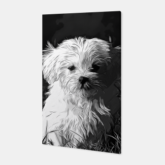 Thumbnail image of gxp maltese dog vector art black white Canvas, Live Heroes