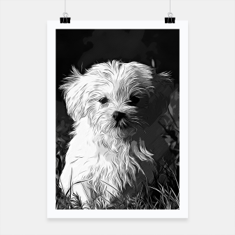 Miniature de image de gxp maltese dog vector art black white Poster, Live Heroes