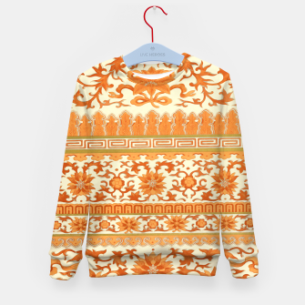 Miniature de image de elegant Chinese floral pattern in oranges Kid's sweater, Live Heroes