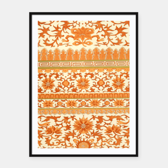 Thumbnail image of elegant Chinese floral pattern in oranges Framed poster, Live Heroes