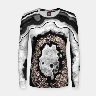 Miniature de image de Gray Black White Agate with Rose Gold Glitter #3 #gem #decor #art  Frauen sweatshirt, Live Heroes