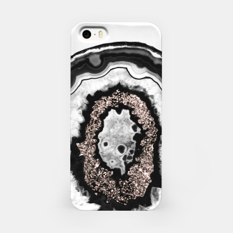 Thumbnail image of Gray Black White Agate with Rose Gold Glitter #3 #gem #decor #art  iPhone-Hülle, Live Heroes