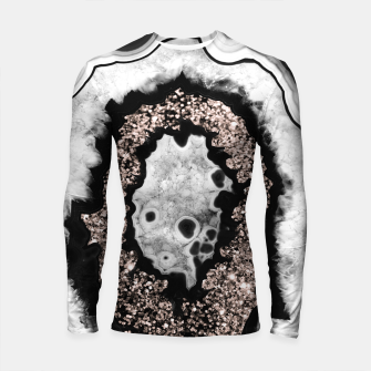Imagen en miniatura de Gray Black White Agate with Rose Gold Glitter #3 #gem #decor #art  Longsleeve rashguard, Live Heroes