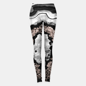 Thumbnail image of Gray Black White Agate with Rose Gold Glitter #3 #gem #decor #art  Leggings, Live Heroes