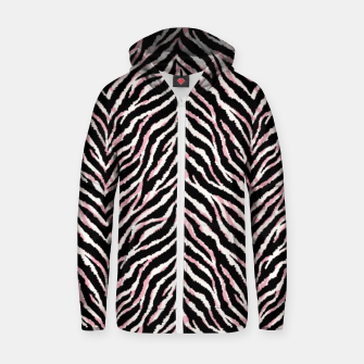 Zebra fur texture print Zip up hoodie miniature