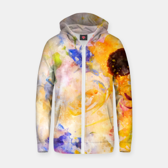 Thumbnail image of Yellow Vintage Rose Zip up hoodie, Live Heroes