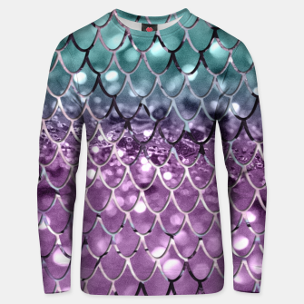 Thumbnail image of Mermaid Scales on Aqua Purple MERMAID Girls Glitter #2 #shiny #decor #art Unisex sweatshirt, Live Heroes