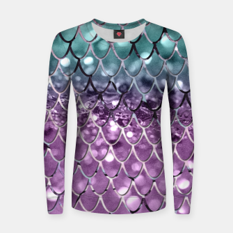Miniature de image de Mermaid Scales on Aqua Purple MERMAID Girls Glitter #2 #shiny #decor #art Frauen sweatshirt, Live Heroes