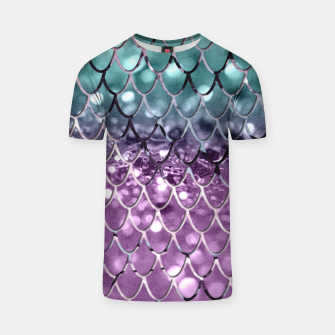 Thumbnail image of Mermaid Scales on Aqua Purple MERMAID Girls Glitter #2 #shiny #decor #art T-Shirt, Live Heroes