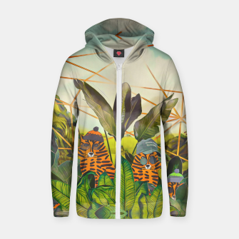 Thumbnail image of Tigers in the jungle Zip up hoodie, Live Heroes