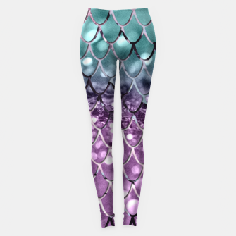 Thumbnail image of Mermaid Scales on Aqua Purple MERMAID Girls Glitter #2 #shiny #decor #art Leggings, Live Heroes
