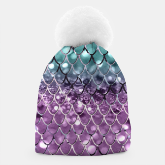 Thumbnail image of Mermaid Scales on Aqua Purple MERMAID Girls Glitter #2 #shiny #decor #art Mütze, Live Heroes
