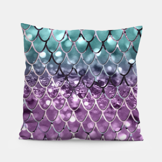 Thumbnail image of Mermaid Scales on Aqua Purple MERMAID Girls Glitter #2 #shiny #decor #art Kissen, Live Heroes