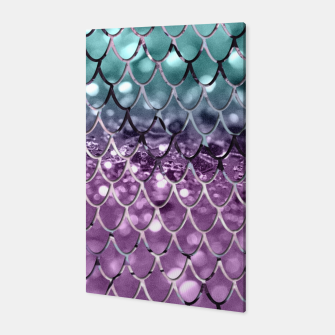 Thumbnail image of Mermaid Scales on Aqua Purple MERMAID Girls Glitter #2 #shiny #decor #art Canvas, Live Heroes