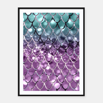 Thumbnail image of Mermaid Scales on Aqua Purple MERMAID Girls Glitter #2 #shiny #decor #art Plakat mit rahmen, Live Heroes