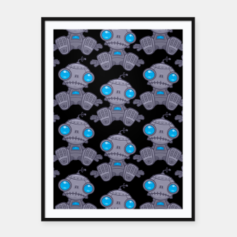 Thumbnail image of Sad Robot Pattern Framed poster, Live Heroes