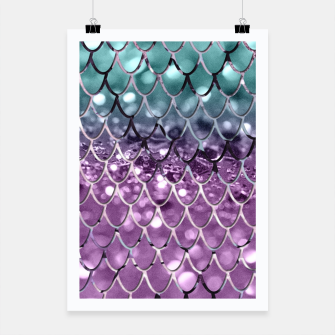 Thumbnail image of Mermaid Scales on Aqua Purple MERMAID Girls Glitter #2 #shiny #decor #art Plakat, Live Heroes