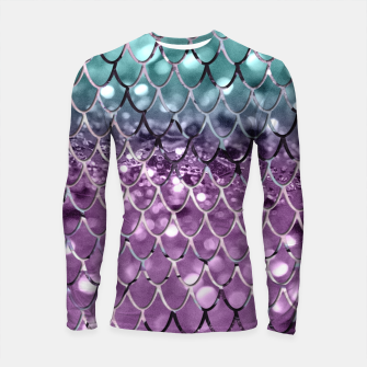 Thumbnail image of Mermaid Scales on Aqua Purple MERMAID Girls Glitter #2 #shiny #decor #art Longsleeve rashguard, Live Heroes