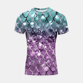 Thumbnail image of Mermaid Scales on Aqua Purple MERMAID Girls Glitter #2 #shiny #decor #art Shortsleeve rashguard, Live Heroes