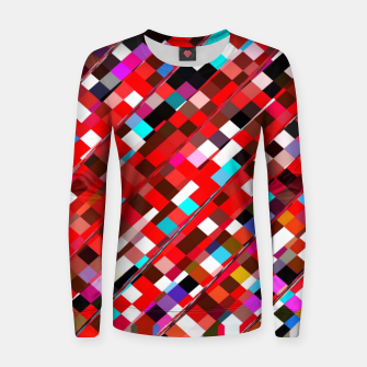 Miniature de image de geometric square pixel pattern abstract background in red blue pink Women sweater, Live Heroes