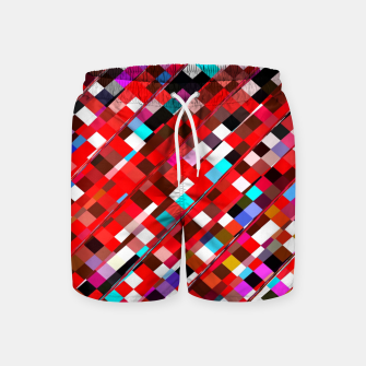 Miniature de image de geometric square pixel pattern abstract background in red blue pink Swim Shorts, Live Heroes