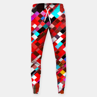 Miniature de image de geometric square pixel pattern abstract background in red blue pink Sweatpants, Live Heroes