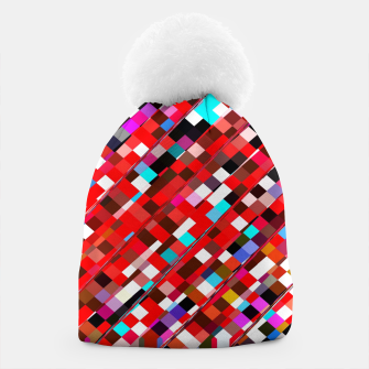 Miniature de image de geometric square pixel pattern abstract background in red blue pink Beanie, Live Heroes