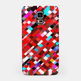 Miniature de image de geometric square pixel pattern abstract background in red blue pink Samsung Case, Live Heroes