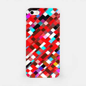 Miniature de image de geometric square pixel pattern abstract background in red blue pink iPhone Case, Live Heroes