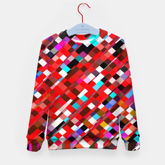 Miniature de image de geometric square pixel pattern abstract background in red blue pink Kid's sweater, Live Heroes