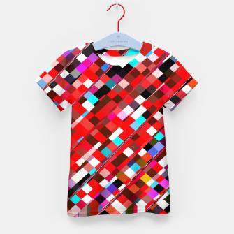 Miniature de image de geometric square pixel pattern abstract background in red blue pink Kid's t-shirt, Live Heroes