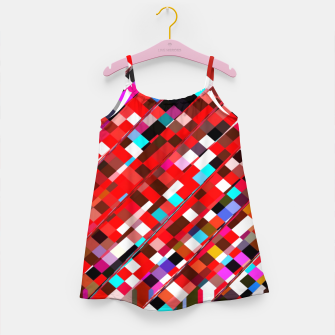 Miniature de image de geometric square pixel pattern abstract background in red blue pink Girl's dress, Live Heroes