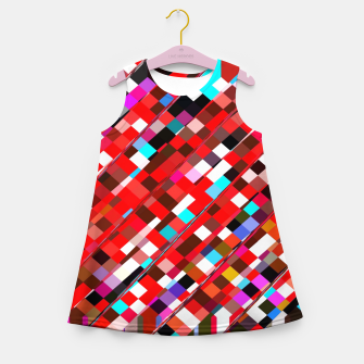 Miniature de image de geometric square pixel pattern abstract background in red blue pink Girl's summer dress, Live Heroes