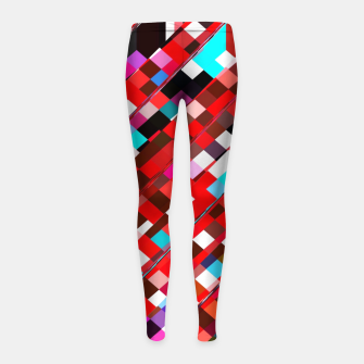 Miniature de image de geometric square pixel pattern abstract background in red blue pink Girl's leggings, Live Heroes