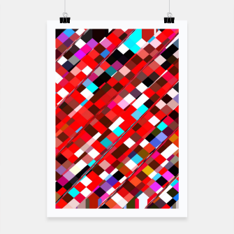 Miniature de image de geometric square pixel pattern abstract background in red blue pink Poster, Live Heroes