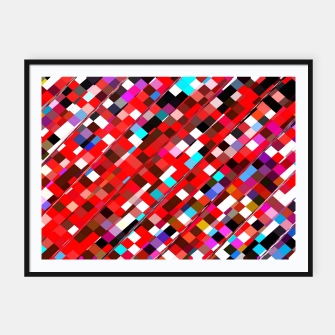 Miniature de image de geometric square pixel pattern abstract background in red blue pink Framed poster, Live Heroes