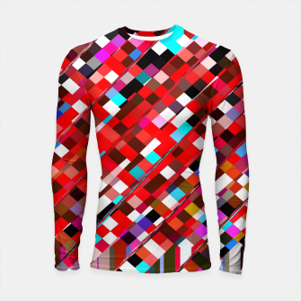 Imagen en miniatura de geometric square pixel pattern abstract background in red blue pink Longsleeve rashguard , Live Heroes