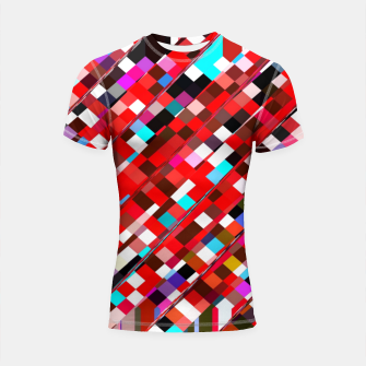 Imagen en miniatura de geometric square pixel pattern abstract background in red blue pink Shortsleeve rashguard, Live Heroes