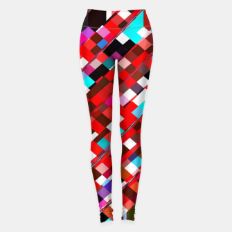 Miniature de image de geometric square pixel pattern abstract background in red blue pink Leggings, Live Heroes