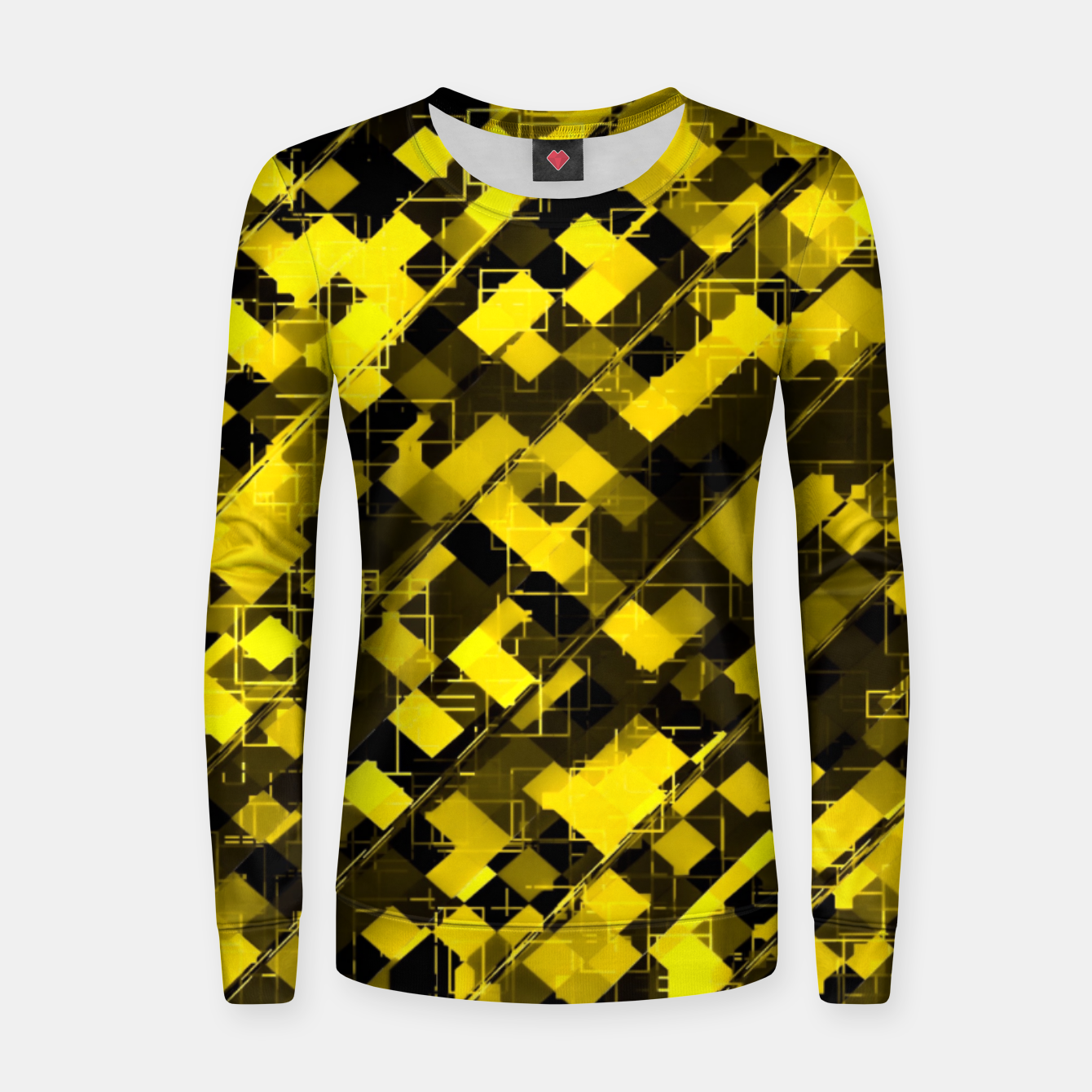 Image de geometric square pixel pattern abstract background in yellow and black Women sweater - Live Heroes