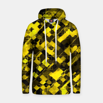 geometric square pixel pattern abstract background in yellow and black Hoodie miniature