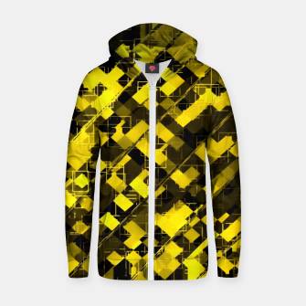 geometric square pixel pattern abstract background in yellow and black Zip up hoodie miniature