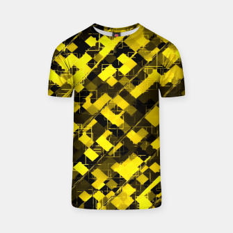 geometric square pixel pattern abstract background in yellow and black T-shirt miniature