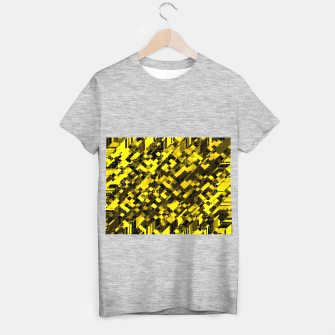 geometric square pixel pattern abstract background in yellow and black T-shirt regular miniature