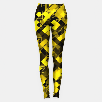 Miniature de image de geometric square pixel pattern abstract background in yellow and black Leggings, Live Heroes