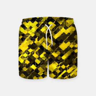 geometric square pixel pattern abstract background in yellow and black Swim Shorts miniature