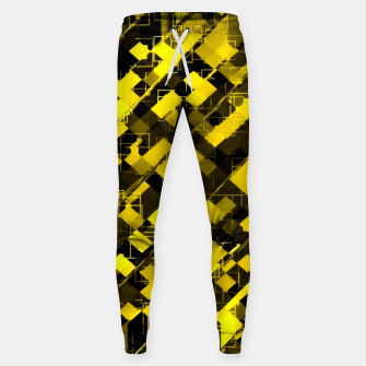 geometric square pixel pattern abstract background in yellow and black Sweatpants miniature